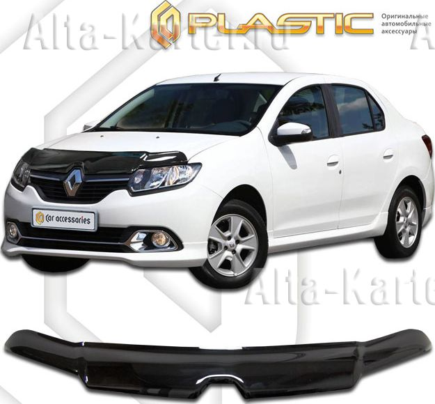 Дефлектор СА Пластик для капота (Classic черный) Renault Logan II 2014 по наст. вр.. Артикул 2010010109707