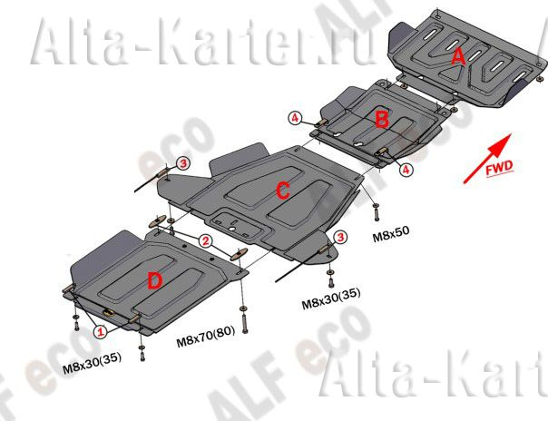 Защита Alfeco для КПП, раздатки, радиатора, редуктора переднего моста Great Wall Hover H3 2014-2021. Артикул ALF.31.12,13,14,06