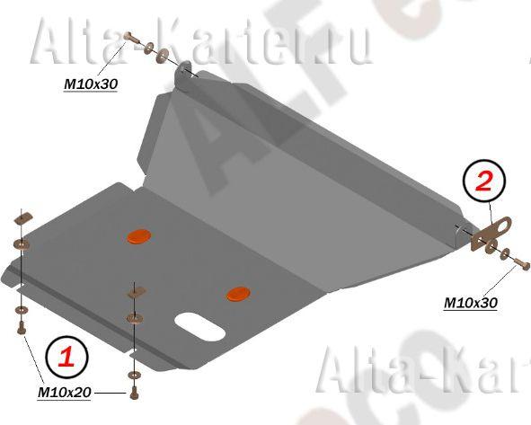 Защита Alfeco для картера и КПП Toyota Crown S150, S170 1995-2003 4WD, правый руль. Артикул ALF.24.85