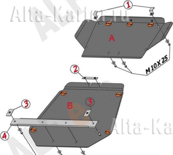 Защита Alfeco для картера BMW Х5 E53 2000-2006. Артикул ALF.34.04