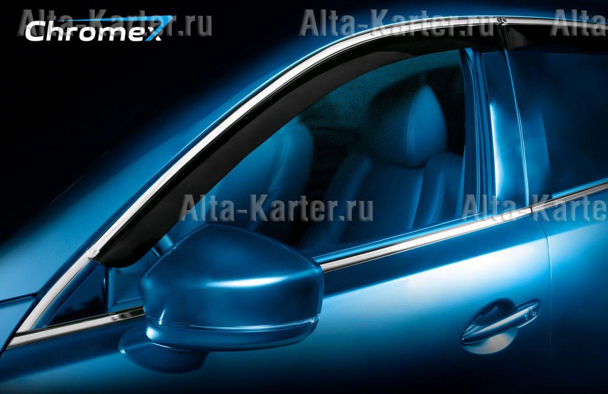 Дефлекторы Chromex для окон (c хром. молдингом) (4 шт.) Kia Optima IV седан 2016 по наст. вр.. Артикул CHROMEX.63021