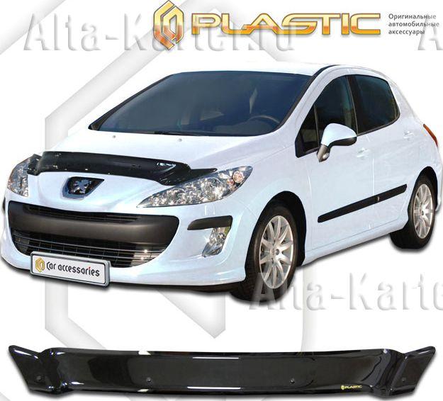 Дефлектор СА Пластик для капота (Classic черный) Peugeot 308 хетчбек2009-2011. Артикул 2010010103781