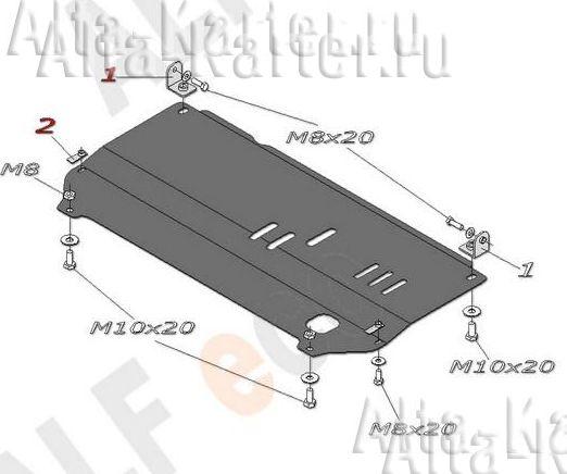 Защита Alfeco для картера и КПП Citroen C2 2003-2009. Артикул ALF.04.01