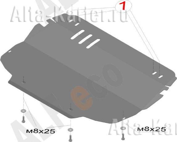 Защита Alfeco для картера и КПП Audi A3 8P 2011-2012. Артикул ALF.30.31