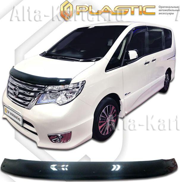 Дефлектор СА Пластик для капота (Classic черный) Nissan Serena C26 2013-2016. Артикул 2010010113216
