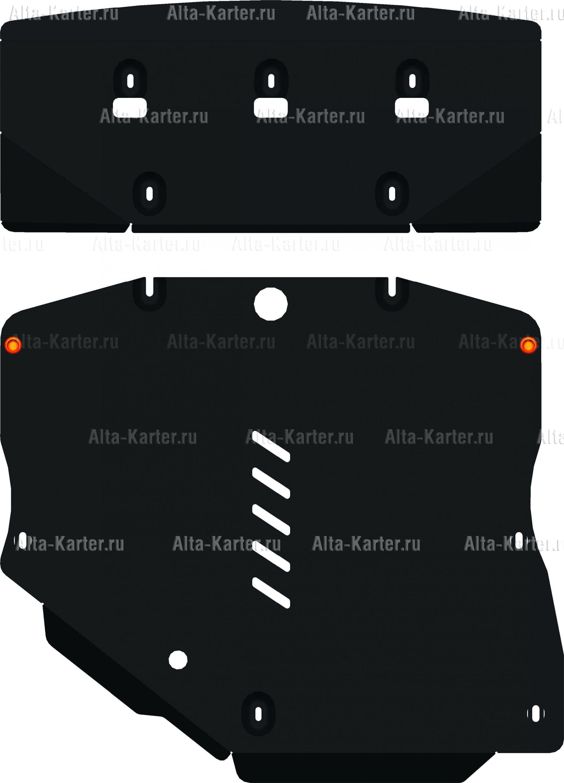 Защита Alfeco для картера и АКПП Mercedes-Benz В-Класс W245 B200 2005-2011. Артикул ALF.36.12
