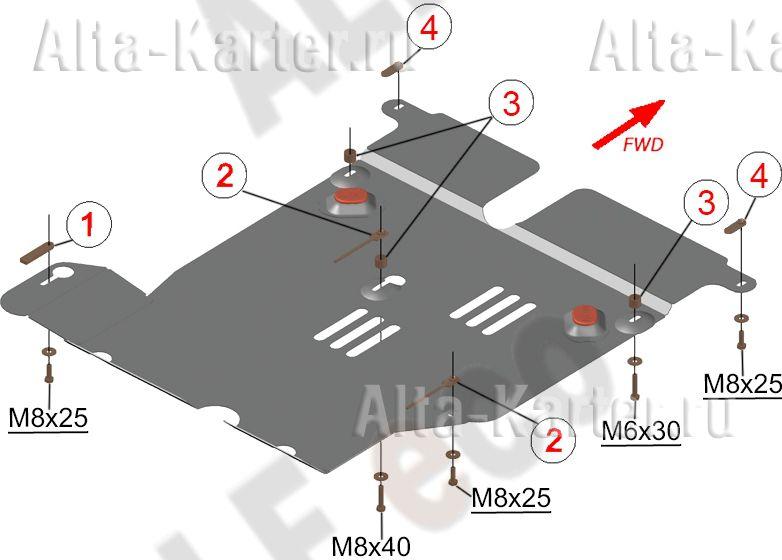 Защита Alfeco для кислородного датчика и катализатора Nissan Terrano 2WD 2014-2021. Артикул ALF.15.54