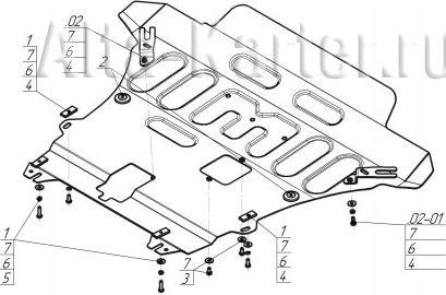 Защита 'Мотодор' для картера, КПП и переднего бампера Renault Duster 2015-2021.Артикул 117011. Артикул 117011