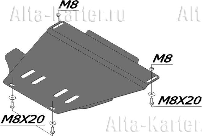Защита Alfeco для МКПП Volkswagen Passat B5 1996-2005. Артикул ALF.30.20