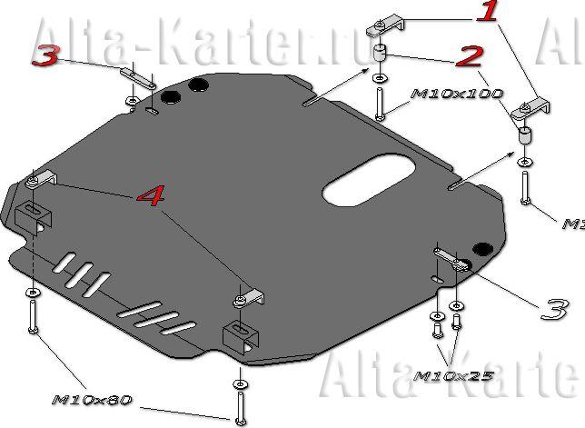 Защита 'Alfeco' для картера и КПП Mazda MPV III LY 4WD 2006-2016. Артикул ALF.13.06