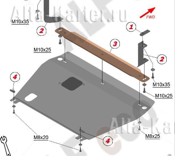Защита Alfeco для картера и КПП Brilliance H530 2014-2021. Артикул ALF.53.01