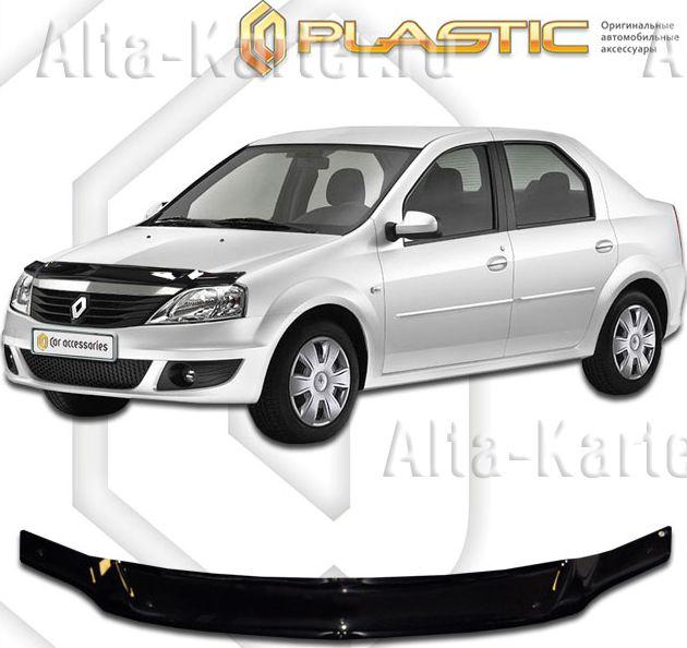 Дефлектор СА Пластик для капота (Classic черный) Renault Logan  2010-2012. Артикул 2010010103927