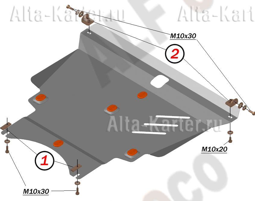 Защита Alfeco для картера и КПП Toyota Matrix I 2001-2008 4WD сборка USA. Артикул ALF.24.84