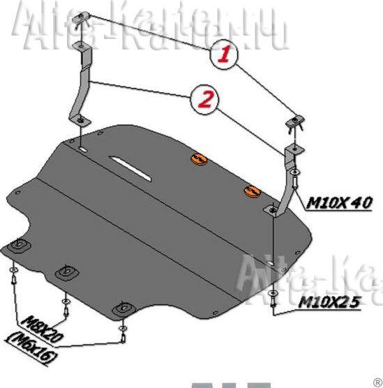 Защита Alfeco для картера и КПП (стальной подрамник) Skoda Superb II B6 2010-2015. Артикул ALF.20.09