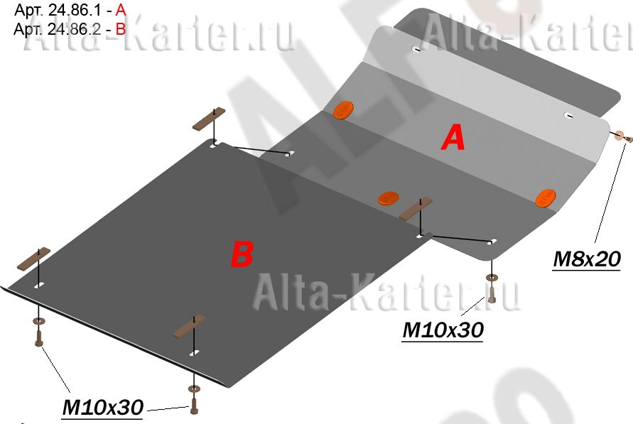 Защита Alfeco для КПП Toyota Cami 1999-2006. Артикул ALF.24.86.2