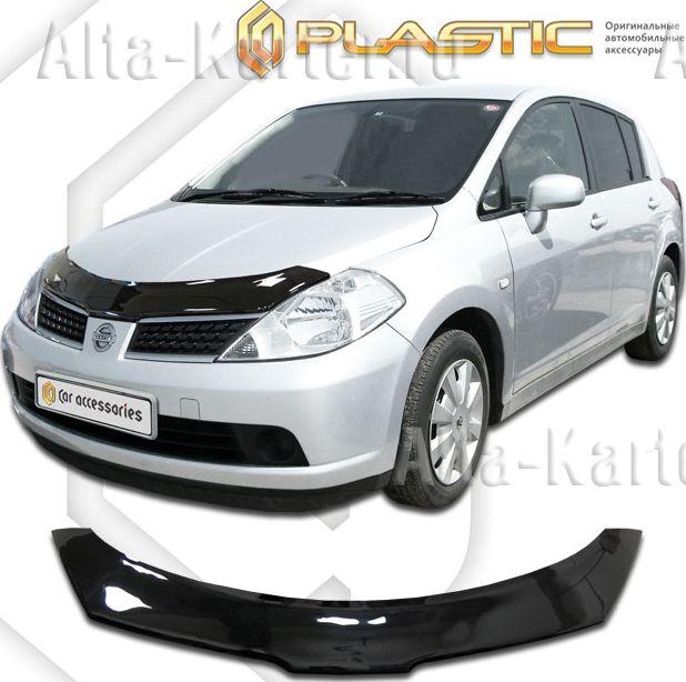 Дефлектор СА Пластик для капота (Classic черный) Nissan Tiida правый руль 2004-2012. Артикул 2010010101336