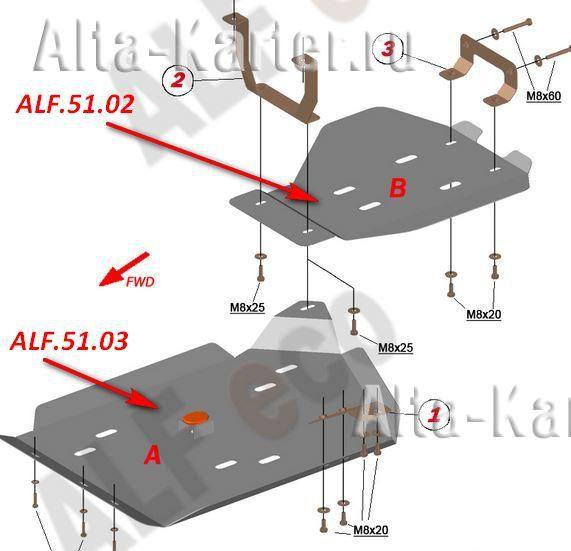Защита Alfeco для топливного бака Acura MDX III 2014-2021. Артикул ALF.51.02