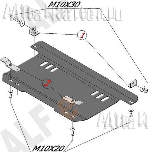 Защита Alfeco для картера и КПП Chevrolet Spark I 2005-2009. Артикул ALF.03.10