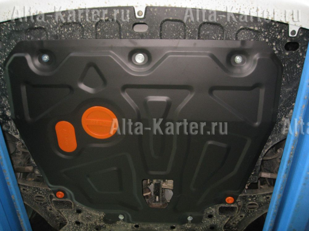 Защита Alfeco для картера и КПП (на пыльник с уст. на силовой кронштейн) Kia Rio IV (вкл. X-Line ) 2017-2021. Артикул ALF.10.48st