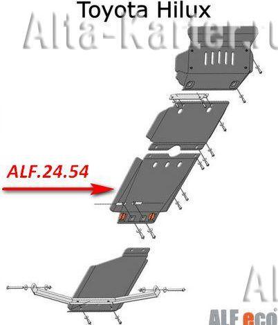 Защита Alfeco для КПП Toyota Hilux VII 2010-2015. Артикул ALF.24.54