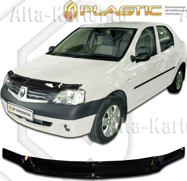 Дефлектор СА Пластик для капота (Classic черный) Renault Logan  2006-2009. Артикул 2010010101022