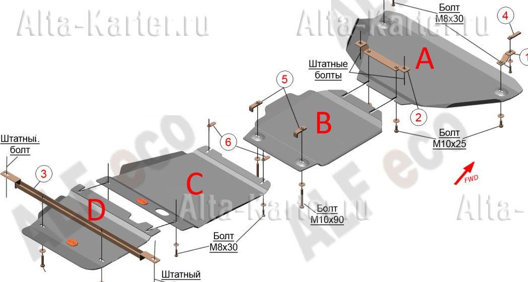 Защита Alfeco для КПП Jeep Grand Cherokee WK2 2013-2021. Артикул ALF.48.02