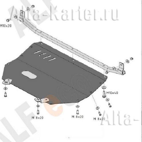 Защита Alfeco для картера Audi 80 1986-1994. Артикул ALF.30.15