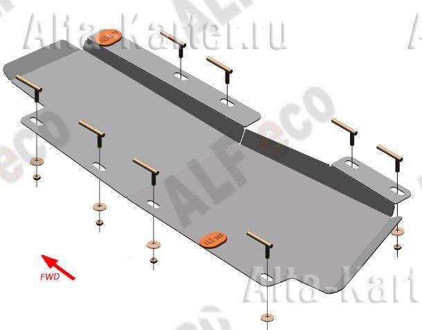 Защита Alfeco для тормозной магистрали Chery Tiggo 7 2019-2021. Артикул ALF.02.19.2