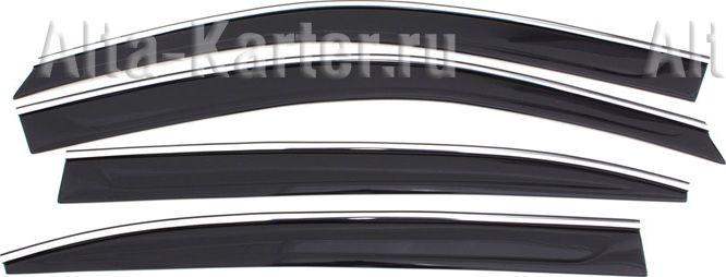 Дефлекторы Cobra Tuning для окон (c хром. молдингом) Nissan Pathfinder R52 IV 2012 по наст. вр.. Артикул N14914CR