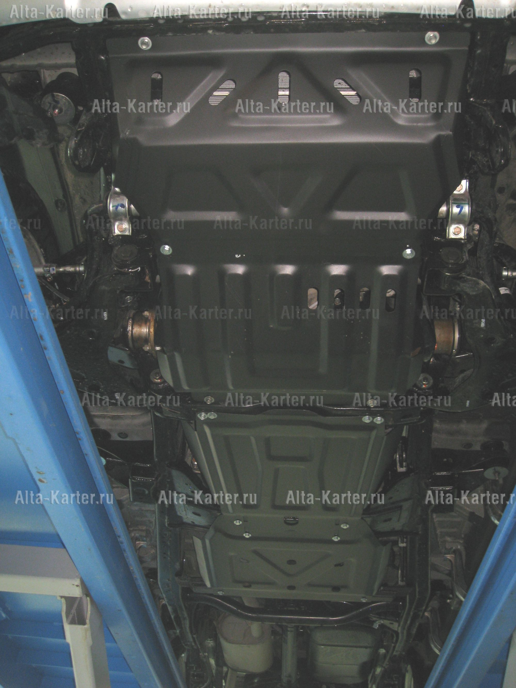 Защита Alfeco для радиатора, редуктора переднего моста, КПП и РК Mitsubishi L200 V facelift 2019-2021. Артикул ALF.14.43.1,47.2,48,49