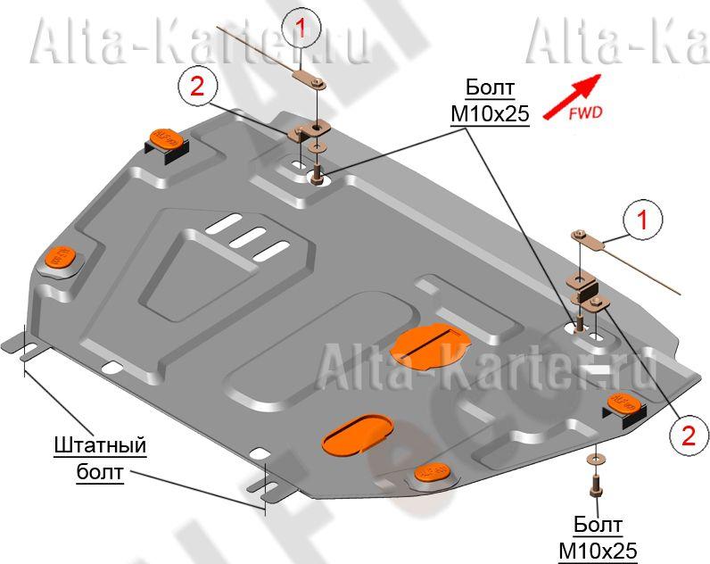 Защита Alfeco для картера и МКПП Geely Emgrand X7 рестайлинг 2016-2019. Артикул ALF.08.10st