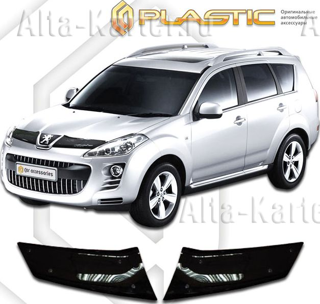 Дефлектор СА Пластик для капота (Classic черный) Peugeot 4007 2007–2012. Артикул 2010010103774