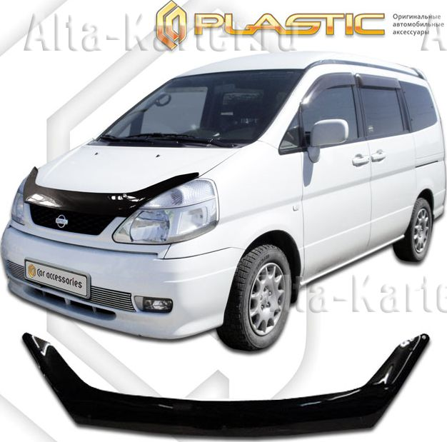 Дефлектор СА Пластик для капота (Classic черный) Nissan Serena 1999-2005. Артикул 2010010102043