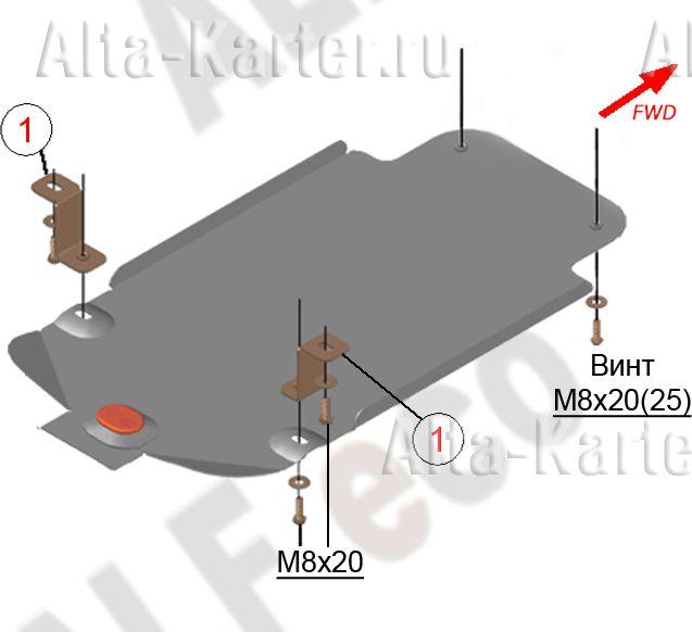 Защита Alfeco для АКПП BMW 1-серия F20, F21 2011-2021. Артикул ALF.34.19