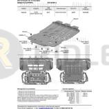 Защита алюминиевая Rival для картера Maserati Levante I рестайлинг (с 2018 года с ЭУР) 2017-2021. Артикул 333.3603.1