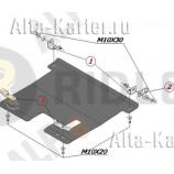 Защита алюминиевая 'Alfeco' для картера и КПП Ravon Matiz 2015-2018. Артикул ALF.05.01 AL5