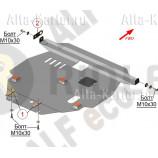 Защита алюминиевая Alfeco для картера и КПП Pontiac Vibe I 2WD 2002-2008. Артикул ALF.24.33 AL4