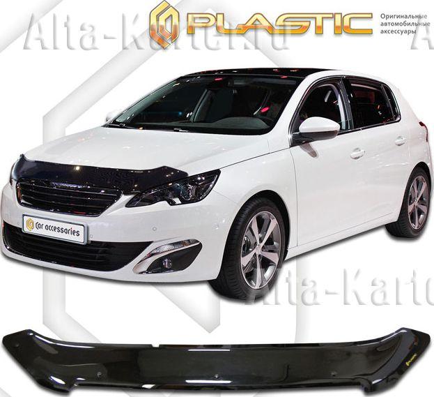 Дефлектор СА Пластик для капота (Classic черный) Peugeot 308 2014 по наст. вр.. Артикул 2010010110253