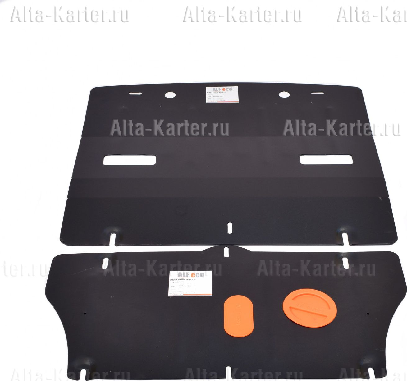 Защита Alfeco для радиатора, рулевой рейки и картера Kia Stinger 4WD (2 части) 2,0Т 2018-2021. Артикул ALF.11.42
