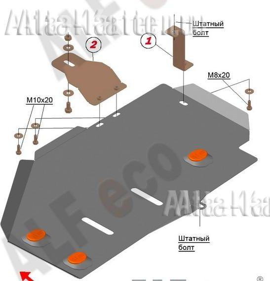 Защита Alfeco для топливного бака Renault Duster I до рестайлинга 2WD 2012-2015. Артикул ALF.18.08
