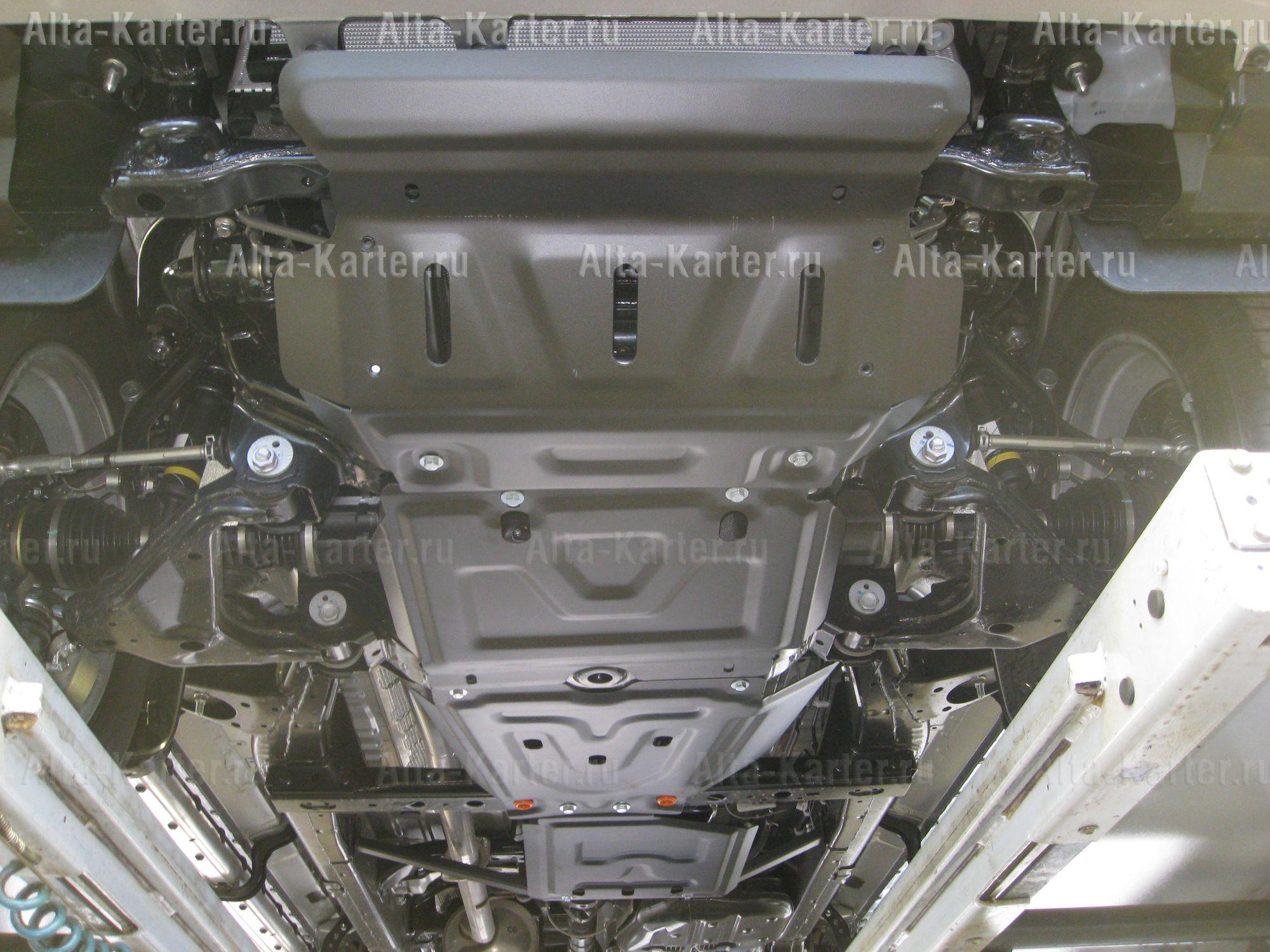 Защита 'Alfeco' для радиатора, картера, редуктора переднего моста, КПП, раздатки Toyota Hilux VII 2006-2015. Артикул ALF.24.90,91,92,93