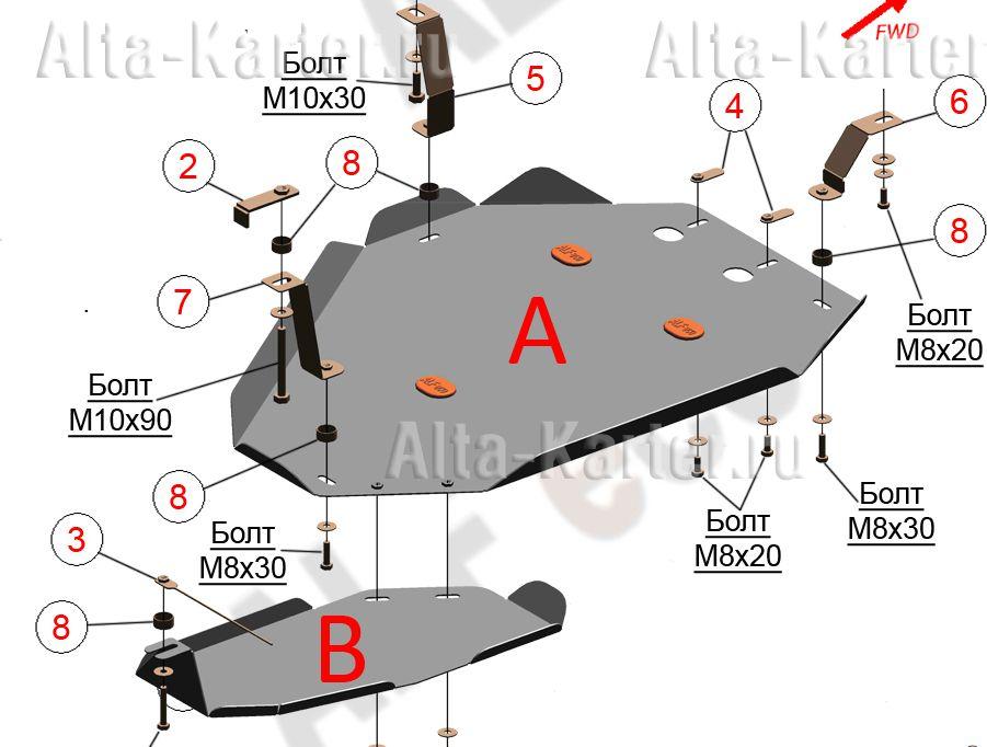 Защита 'Alfeco' для топливного бака и редуктора Kia Sorento III (Prime) рестайлинг 2017-2021. Артикул ALF.11.39