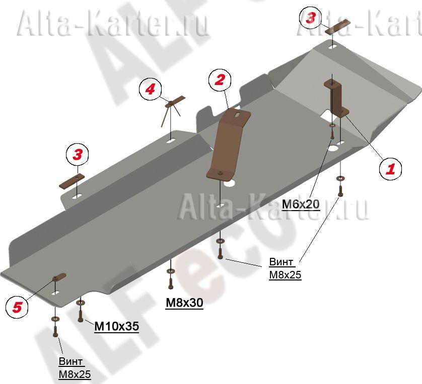 Защита Alfeco для топливопровода Honda CR-V IV 2012-2018. Артикул ALF.09.33
