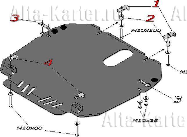 Защита Alfeco для картера и КПП Mazda CX-9 I 2012-2016. Артикул ALF.13.06