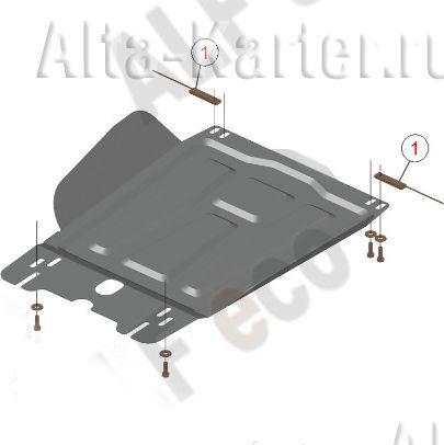 Защита Alfeco КПП Mitsubishi L200 V 2015-2021. Артикул ALF.14.44 st