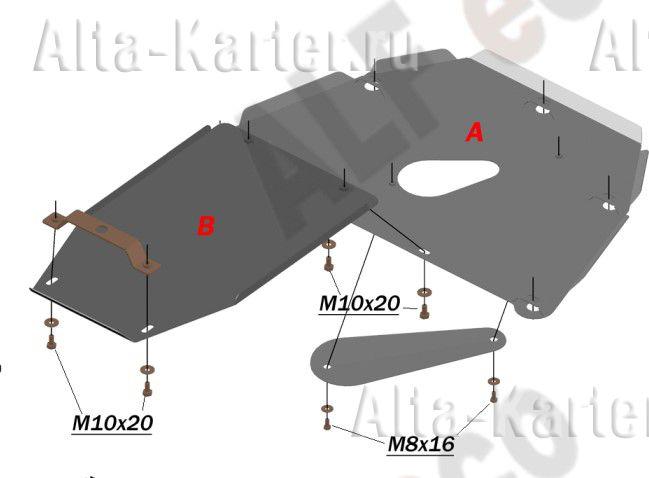 Защита Alfeco для картера и КПП (2 части) BMW 7-й серии E65, E66 2002-2008. Артикул ALF.34.30