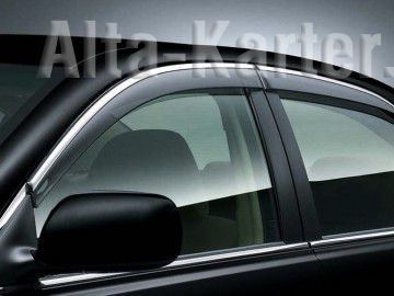 Дефлекторы Alvi-Style для окон с нержавеющим молдингом Hyundai Creta 5дв. 2016 по наст. вр. Темно-дымчатые. Артикул ALV410M