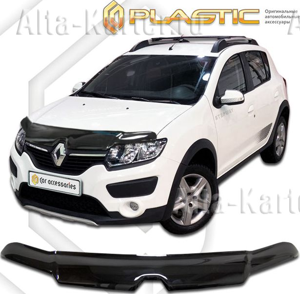 Дефлектор СА Пластик для капота (Classic черный) Renault Sandero Stepway II 2014 по наст. вр.. Артикул 2010010112745