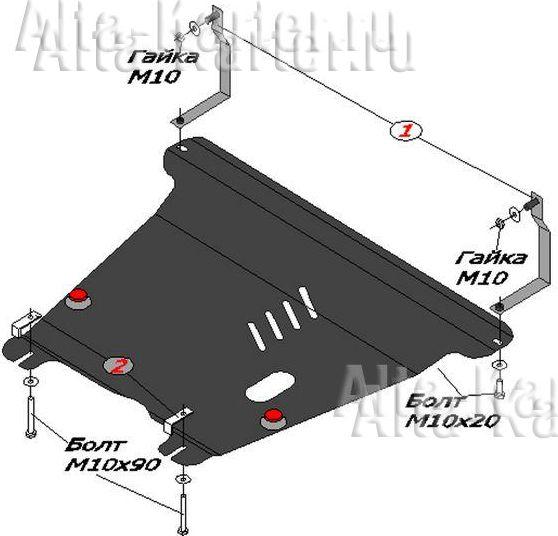 Защита Alfeco для картера и КПП Kia Picanto I 2004-2010. Артикул ALF.11.04