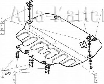 Защита 'Мотодор' усиленная для двигателя и КПП Skoda Yeti 2009-2018. Артикул 72302